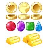 Χρυσά νομίσματα, φραγμοί, brilliants απεικόνιση αποθεμάτων