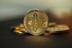 Χρυσά νομίσματα crypto του νομίσματος bitcoin Στοκ Φωτογραφίες