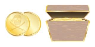 Χρυσά νόμισμα πειρατών και στήθος θησαυρών διανυσματική απεικόνιση