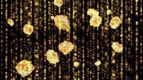 Χρυσά λουλούδια που πέφτουν κάτω από το υπόβαθρο βρόχων τρισδιάστατος δώστε απεικόνιση αποθεμάτων