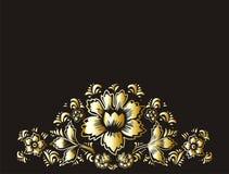 Χρυσά λουλούδια σε μια μαύρη διανυσματική απεικόνιση υποβάθρου Το θέμα των ευχετήριων καρτών και της πρόσκλησης με τα χρυσά λουλο Στοκ Εικόνες