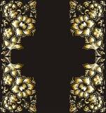 Χρυσά λουλούδια σε μια μαύρη διανυσματική απεικόνιση υποβάθρου Το θέμα των ευχετήριων καρτών και της πρόσκλησης με τα χρυσά λουλο Στοκ εικόνα με δικαίωμα ελεύθερης χρήσης