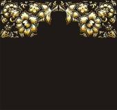 Χρυσά λουλούδια σε μια μαύρη διανυσματική απεικόνιση υποβάθρου Το θέμα των ευχετήριων καρτών και της πρόσκλησης με τα χρυσά λουλο Στοκ Φωτογραφία