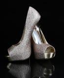 χρυσά παπούτσια Στοκ εικόνα με δικαίωμα ελεύθερης χρήσης