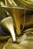 χρυσά παπούτσια womans Στοκ Φωτογραφία