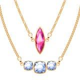 Χρυσά περιδέραια αλυσίδων που τίθενται με τα κρεμαστά κοσμήματα πολύτιμων λίθων ρουμπινιών και διαμαντιών διανυσματική απεικόνιση