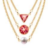 Χρυσά περιδέραια αλυσίδων που τίθενται με τα στρογγυλά ροδοκόκκινα κρεμαστά κοσμήματα και το μαργαριτάρι τριγώνων διανυσματική απεικόνιση