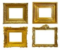 Χρυσά πλαίσια εικόνων. Απομονωμένος πέρα από το λευκό Στοκ Εικόνες