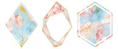 Χρυσά πλαίσια Watercolor που τίθενται στα μαλακά ρόδινα και μπλε χρώματα κρητιδογραφιών Polygonal μορφή καρδιών απεικόνιση αποθεμάτων
