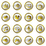 χρυσά πολυμέσα εικονιδί&om Στοκ Εικόνα