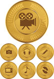 χρυσά πολυμέσα νομισμάτων  διανυσματική απεικόνιση
