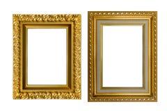 Χρυσά πλαίσια που απομονώνονται στο άσπρο υπόβαθρο Στοκ εικόνες με δικαίωμα ελεύθερης χρήσης