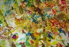 Χρυσά σημεία κρητιδογραφιών Watercolor, υπόβαθρο μορφών αντίθεσης στα χρώματα κρητιδογραφιών Στοκ φωτογραφία με δικαίωμα ελεύθερης χρήσης