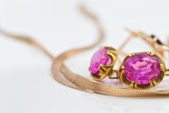 Χρυσά σκουλαρίκια με το ρουμπίνι Στοκ φωτογραφία με δικαίωμα ελεύθερης χρήσης