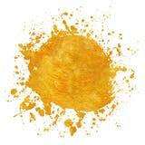 Χρυσά στρογγυλά χρώματα υποβάθρων πλαισίων Splatter που τίθενται με το χρυσό παφλασμό στο λευκό απεικόνιση αποθεμάτων