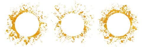 Χρυσά στρογγυλά χρώματα υποβάθρων πλαισίων Splatter που τίθενται με το χρυσό παφλασμό στο λευκό διανυσματική απεικόνιση