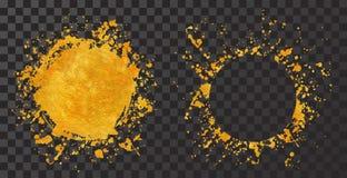 Χρυσά στρογγυλά χρώματα υποβάθρων πλαισίων Splatter που τίθενται με το χρυσό παφλασμό στο Μαύρο απεικόνιση αποθεμάτων