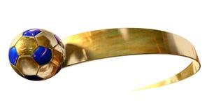 Χρυσά σφαίρα και Swoosh ποδοσφαίρου Στοκ εικόνες με δικαίωμα ελεύθερης χρήσης