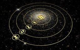 Χρυσά σύμβολα των cryptocurrencies - ένα πλανητικό σύστημα ελεύθερη απεικόνιση δικαιώματος