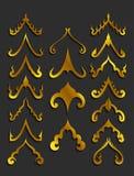 Χρυσά ταϊλανδικά στοιχεία σχεδίου τέχνης διανυσματική απεικόνιση