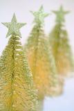 χρυσά τρία δέντρα Χριστουγ Στοκ φωτογραφία με δικαίωμα ελεύθερης χρήσης