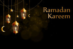 Χρυσά φανάρια glowng υποβάθρου Ramadan kareem Στοκ φωτογραφία με δικαίωμα ελεύθερης χρήσης