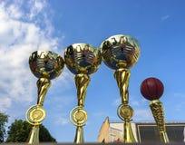Χρυσά φλυτζάνια καλαθοσφαίρισης στοκ εικόνα