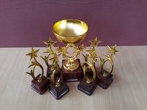 Χρυσά φλυτζάνια Trophys βραβείων στοκ φωτογραφίες