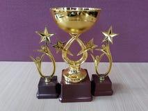 Χρυσά φλυτζάνια Trophys βραβείων στοκ εικόνες