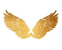 Χρυσά φτερά σε ένα άσπρο υπόβαθρο Στοκ φωτογραφίες με δικαίωμα ελεύθερης χρήσης