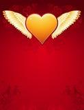χρυσά φτερά vecto καρδιών Στοκ Φωτογραφίες