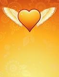 χρυσά φτερά vecto καρδιών Στοκ Εικόνες
