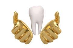 Χρυσά χέρια που κρατούν την εκμετάλλευση ή που προστατεύουν το δόντι, τρισδιάστατη απεικόνιση διανυσματική απεικόνιση