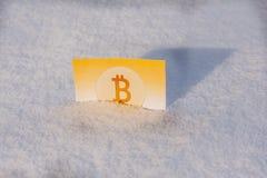 Χρυσά χρήματα εγγράφου bitcoin στο χιόνι το χειμώνα απολογισμός παγωμένος Στοκ Φωτογραφίες