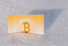 Χρυσά χρήματα εγγράφου bitcoin στο χιόνι το χειμώνα απολογισμός παγωμένος Στοκ φωτογραφία με δικαίωμα ελεύθερης χρήσης