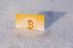 Χρυσά χρήματα εγγράφου bitcoin στο χιόνι το χειμώνα απολογισμός παγωμένος Στοκ φωτογραφίες με δικαίωμα ελεύθερης χρήσης