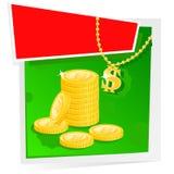 χρυσά χρήματα εμβλημάτων Στοκ Εικόνα