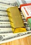 χρυσά χρήματα ράβδου στοκ εικόνα