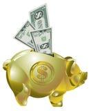 χρυσά χρήματα τραπεζών piggy Στοκ Φωτογραφία