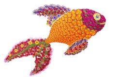 Χρυσά ψάρια από τα λουλούδια Στοκ εικόνα με δικαίωμα ελεύθερης χρήσης