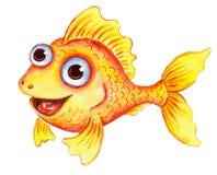 Χρυσά ψάρια κινούμενων σχεδίων Watercolor Στοκ φωτογραφία με δικαίωμα ελεύθερης χρήσης