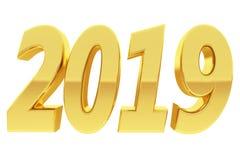 Χρυσά 2019 ψηφία με τις αντανακλάσεις κλίσης που απομονώνονται στο λευκό διανυσματική απεικόνιση