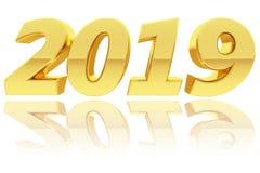 Χρυσά 2019 ψηφία με τις αντανακλάσεις κλίσης στο στιλπνό λευκό διανυσματική απεικόνιση