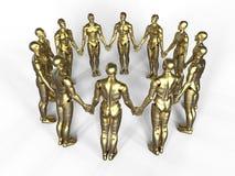 Χρυσά androids που κρατούν τα χέρια Στοκ φωτογραφίες με δικαίωμα ελεύθερης χρήσης