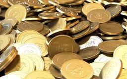 Χρυσά Bitcoin νομίσματα νομίσματος συστήματος κρυπτογραφίας ψηφιακά ελεύθερη απεικόνιση δικαιώματος