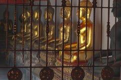Χρυσά buddhas, Wat Po, Μπανγκόκ στοκ εικόνες