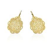 Χρυσά filigree σκουλαρίκια δαντελλών Στοκ Εικόνες