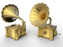 Χρυσά gramophones Στοκ Φωτογραφία
