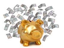 Χρυσά piggybank και δολάρια Στοκ Εικόνα