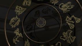 Χρυσά Zodiac σημάδια μέσα σε μια ρόδα της τύχης απόθεμα βίντεο